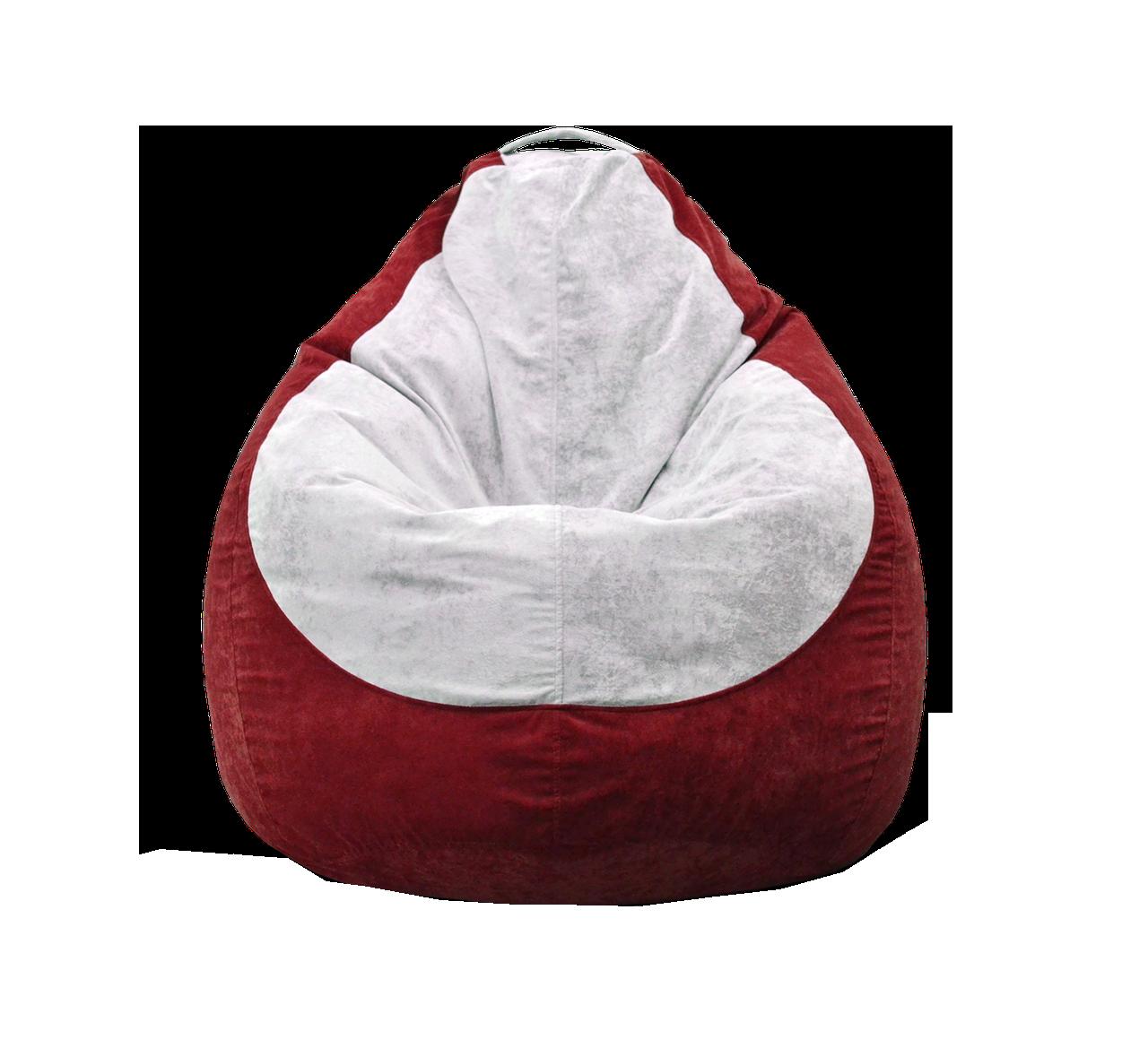 Бескаркасное кресло мешок Флок PufOn, L, Красный, Белый