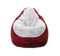 Безкаркасне крісло мішок Флок PufOn, L, Червоний, Білий