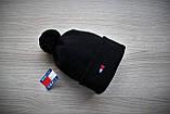 Шапка мужская зимняя черная  на флисе (реплика), фото 2