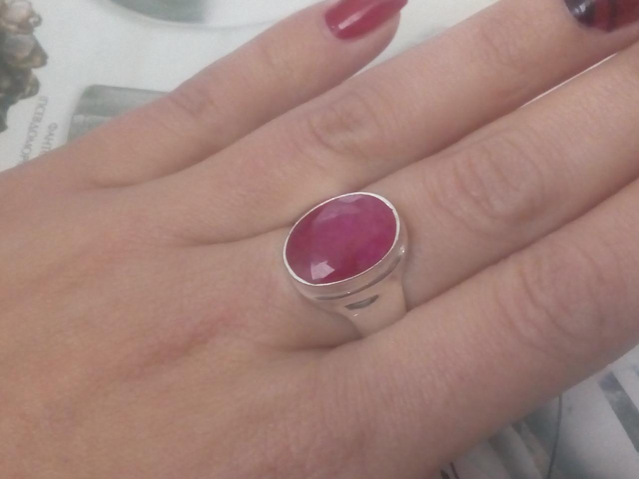 Красивое кольцо с камнем рубин 17,5-18 размер. Кольцо с рубином. Индия!