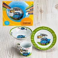 Набор фарфоровой посуды для детей с героями мультфильмов 3-х предметный.