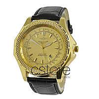 6f92998c7a31 Мужские наручные копии часы Breitling Mollyumlion Classic желтое золото с  золотым циферблатом (20458)