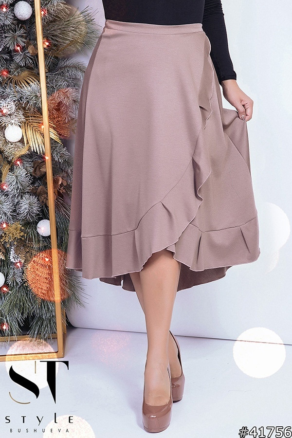 38506490640 Женская красивая юбка на запах из трикотажа с рюшем по крою всего изделия с  удлинением сзади изделия Батал