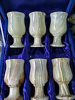 Бокалы из натурального камня Оникс (6шт/d-10 см)