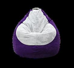 Безкаркасне крісло мішок Флок PufOn, L, Фіолетовий, Сірий