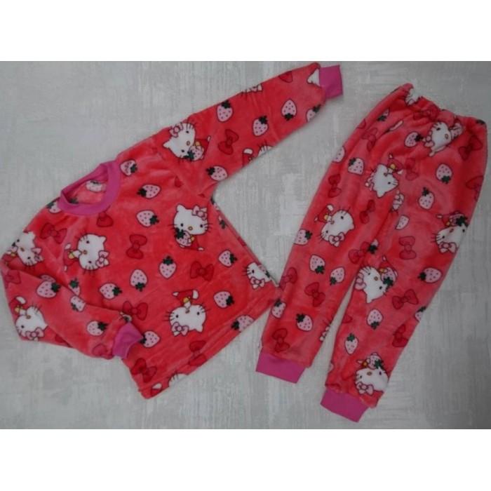Красивая пижама для девочки из велсофта с принтом Китти 30-36 р, детские пижамы оптом от производителя