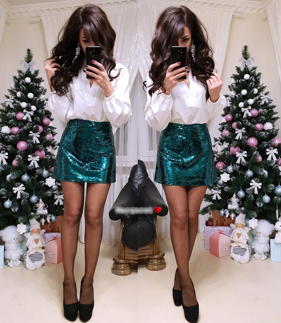 Женская мини юбка из пайеток