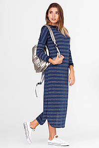 Синее платье KAREN в металлизированную полоску