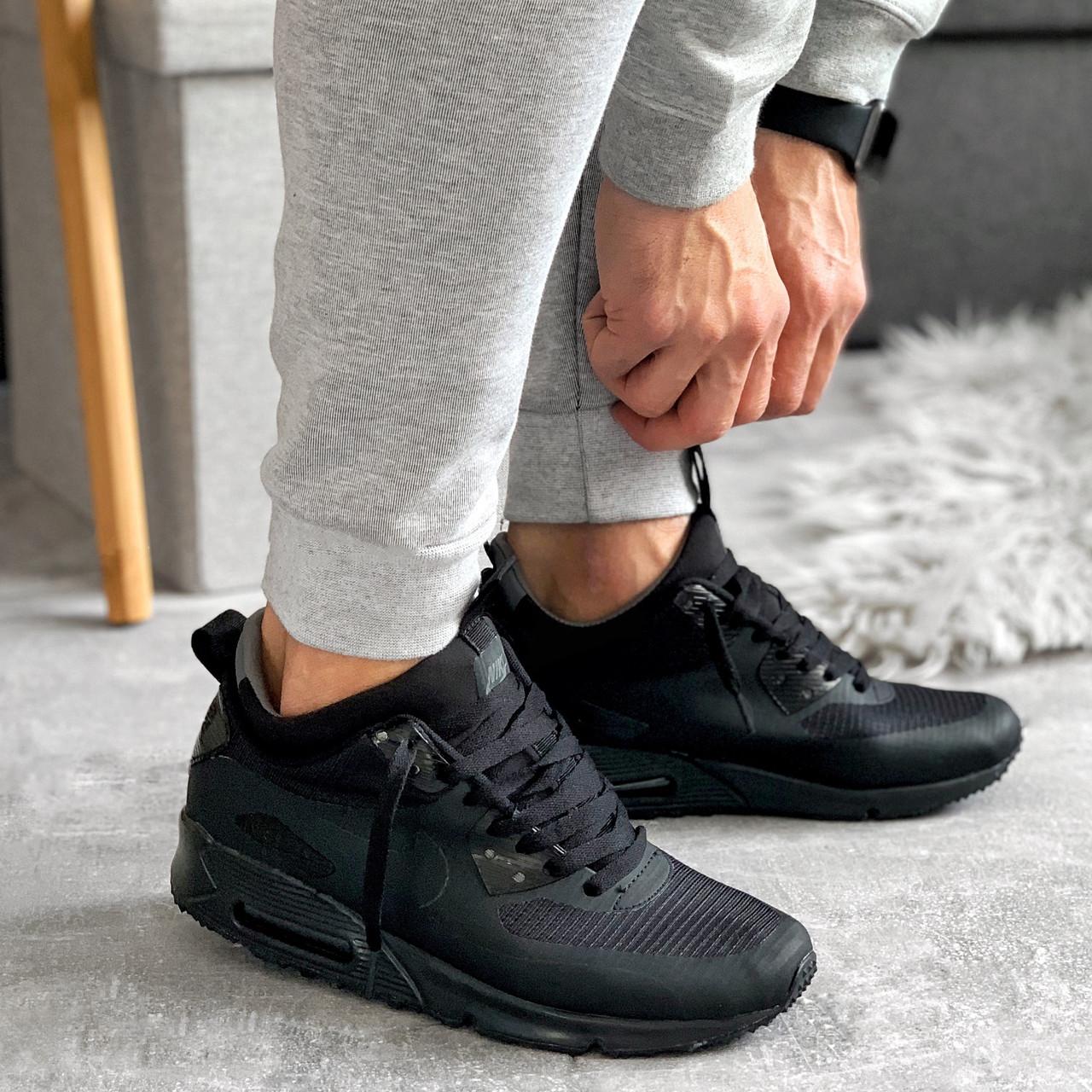 """Зимние кроссовки Nike Air Max 90 Mid """"Black"""" (Черные)"""