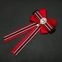 Брошь-галстук из красных лент под воротничок L-22см