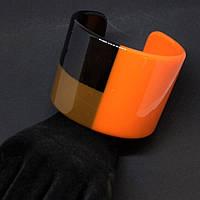 Браслет широкий оранж H-55мм обхват 19см