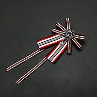Брошь-галстук из лент под воротничок красная полоса L- 20см