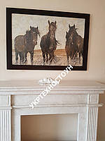 Мраморная мозаичная картина Дикие лошади острова Сэйбл