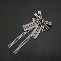 Брошь-галстук из лент под воротничок серая полоса L- 20см