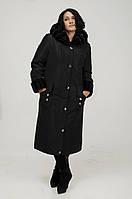 Красивое женское пальто – пуховик с неотстегивающимся капюшоном, укладывающимся на плечи, как воротник