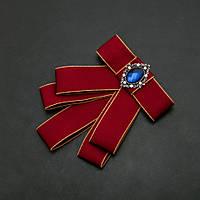 Брошь-галстук из бордовых лент под воротничок L- 12см