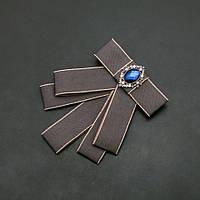 Брошь-галстук из серых лент под воротничок L- 12см