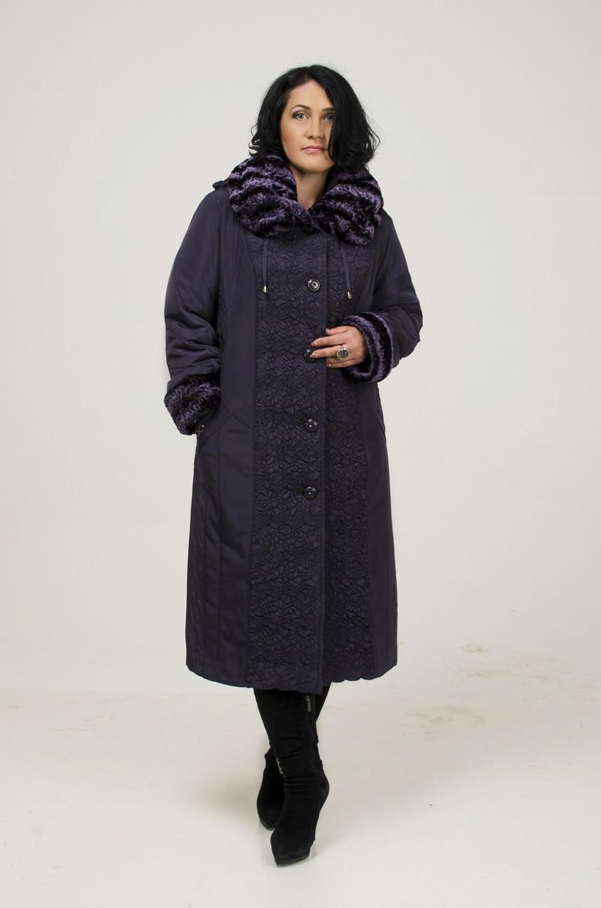 Зимнее пальто, декорированное креативной стежкой