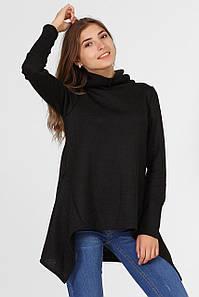 Черная фактурная туника-пальто LISA с капюшоном и асимметрией
