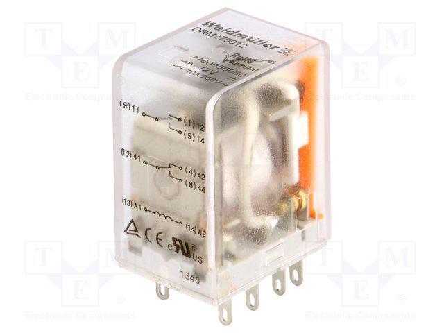 Реле DRM 270012LT WEIDMULLER 7760056068 12V DC, 2CO, светодиод, тест