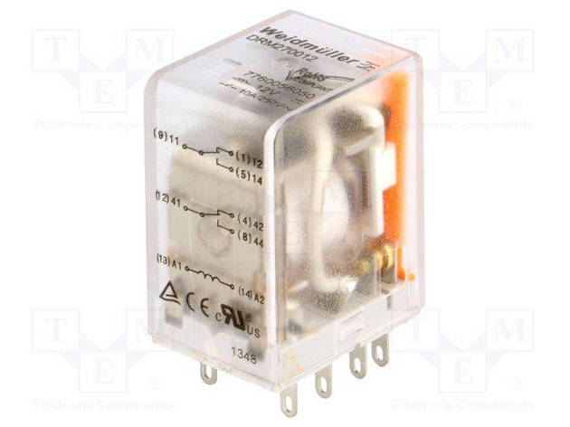 Реле DRM 270012LT WEIDMULLER 7760056068 12V DC, 2CO, светодиод, тест, фото 2