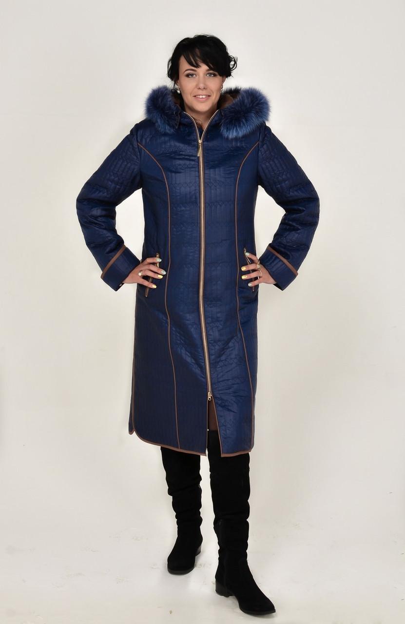 Женственное зимнее пальто – пуховик из оригинальной стеганной ткани -  Интернет магазин