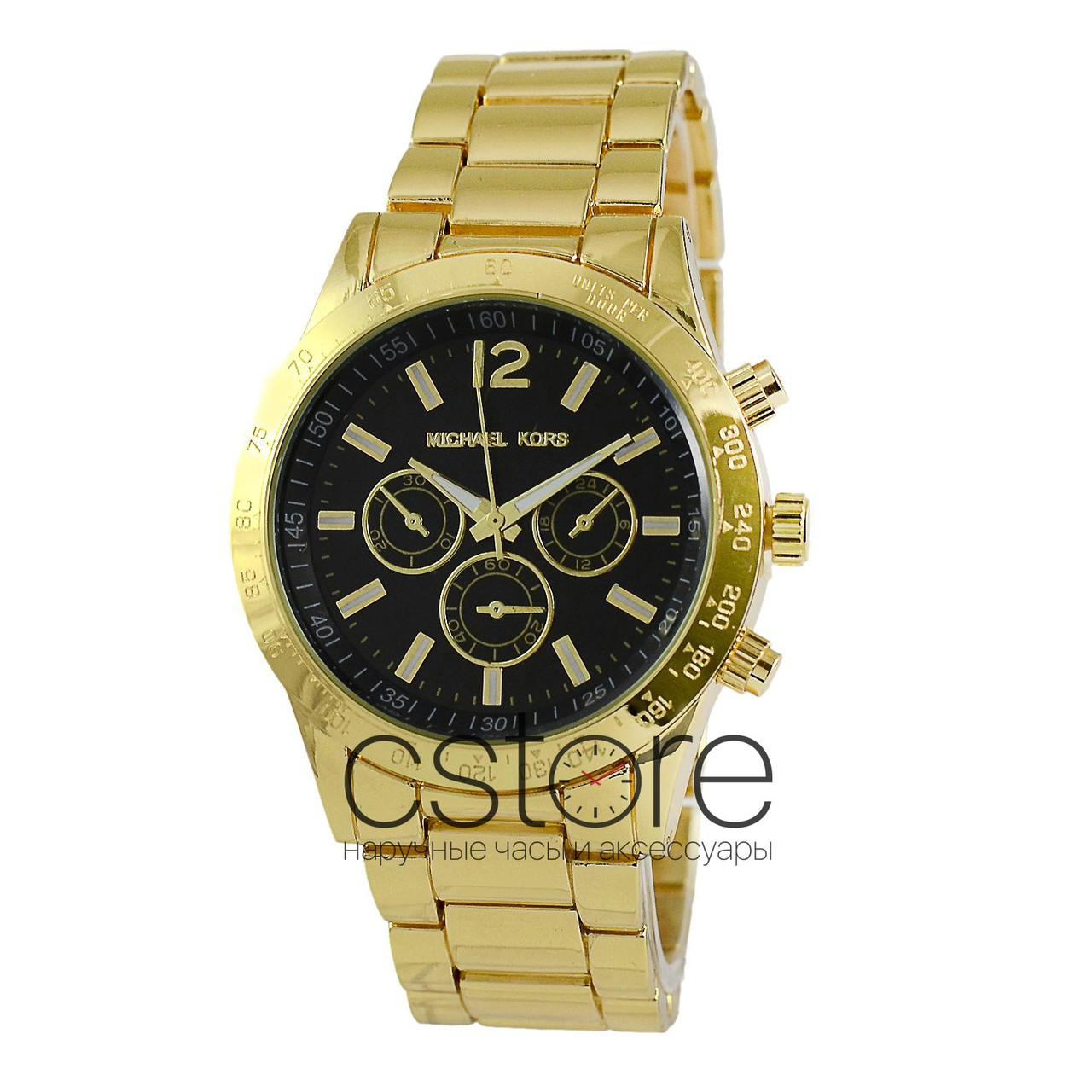 aba017d8e8cd Мужские наручные часы Michael Kors MK-810 Daytona Style желтое золото с  черным циферблатом (