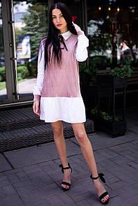 Пудровое платье ANNA плиссе с имитецией рубашки, воротником и бантиком