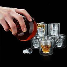 Подарочный набор Графин в форме Черепа 0,55 л и набор из 4 стаканов Череп, фото 2