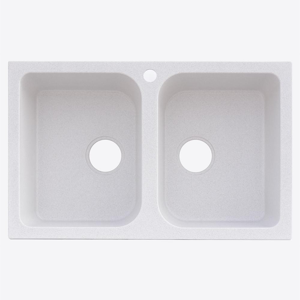 Гранитная кухонная мойка Platinum TWIN 7648 W Белый в точку глянец (19 различных вариантов цвета)