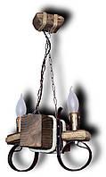 Люстра подвес из натурального дерева на 2 лампы . Код KP-C2 /В/