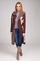 Стильный и элегантный кардиган-пальто с контрастным геометрическим узором, фото 1
