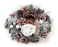 Новогодний подсвечник из веток, шишек и белых роз 22см со стеклянной колбой, набор 2 шт