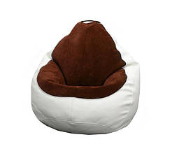 Кресло мешок PufOn, Гибрид XL, Белый, Коричневый