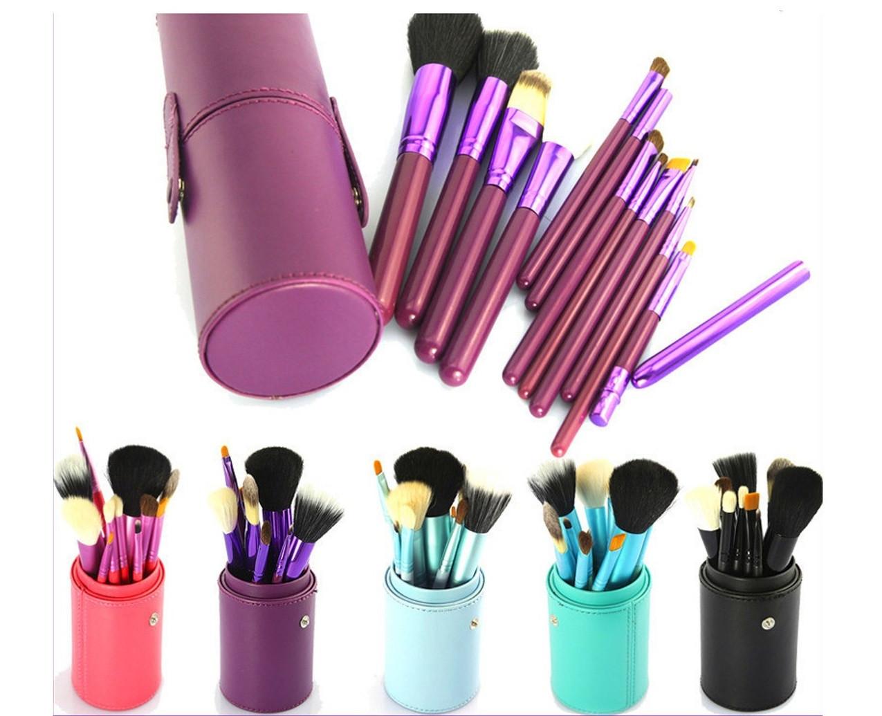 Большой набор кистей для нанесения макияжа МАС 12 шт в фиолетовом тубусе