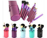 Набор кистей для макияжа МАС 12 штук в фиолетовом тубусе реплика