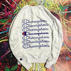 Champion - White\Blue свитшот белый  • мужской и женский • Бирки и Живые фотки