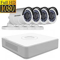 Комплект видеонаблюдения на 4 камеры Hikvision DS-2CE16D0T-IRF + DS-7104HQHI-K1 (Full HD, 1080p)