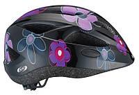 Шлем детский для девочки BHE-48 Hero Black Flowers , фото 1