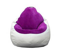 Кресло мешок PufOn, Гибрид XL, Белый, Фиолетовый
