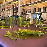 Сервировочные вилки стекловидные CFP 24шт/уп для фуршета банкета презентации выставки party 130мм
