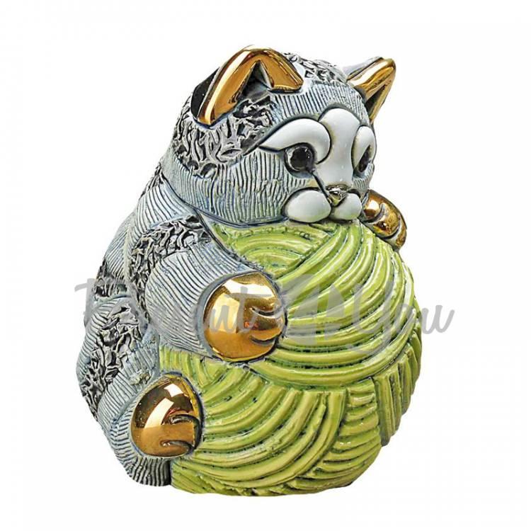 Статуэтка «Cмугастий кот с клубком ниток» De Rosa Rinconada, Уругвай, h-8 см