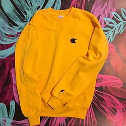 Champion - Small Logo Y свитшот желтый  • мужской и женский • лого вышит