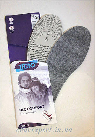 Зимові устілки для взуття Kaps Filc Comfort (для вирізання) р 35-46, фото 2