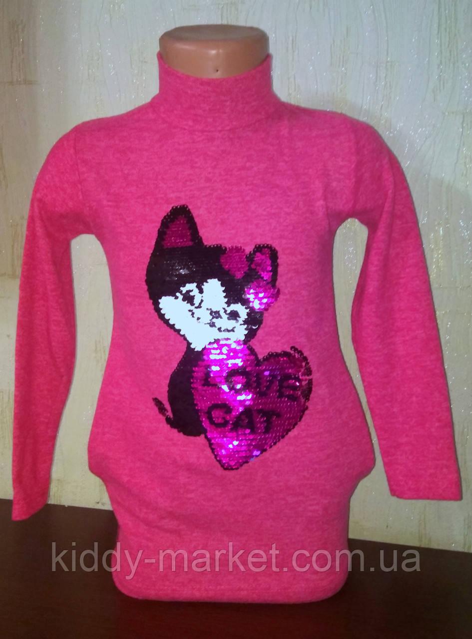 Туника -Платье для девочки  ,пайетки перевертыши, Кошка  пайетки меняют цвет
