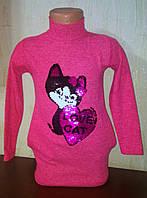 Туника -Платье для девочки  ,пайетки перевертыши, Кошка  пайетки меняют цвет, фото 1