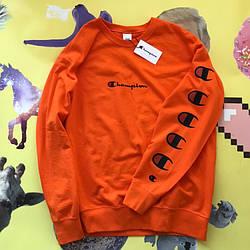 Champion - Logo С свитшот оранжевый  • мужской и женский • Бирки и Живые фотки