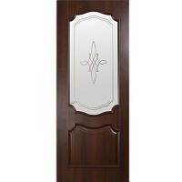 Дверное полотно DeLuxe Рока 60 см каштан стекло с рисунком Р1