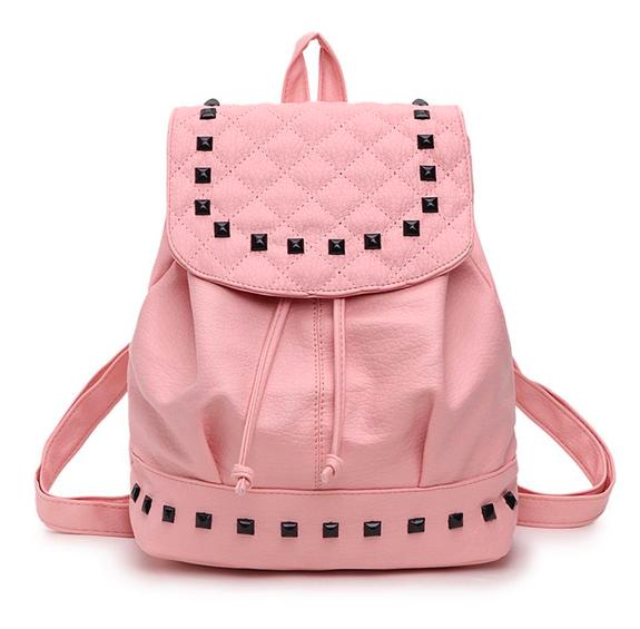 Рюкзак женский городской кожзам с камнями Розовый