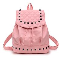 Рюкзак женский городской кожзам с камнями Розовый, фото 1